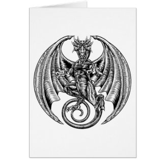 Dragon Engraved Etching Woodcut Style Card