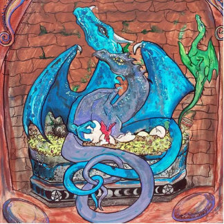 Dragon Family Standing Photo Sculpture