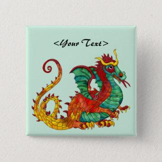 Dragon Fire 15 Cm Square Badge