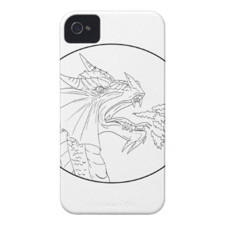 Dragon Fire Circle Drawing iPhone 4 Case