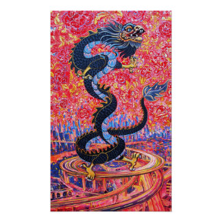 Dragon Flowers over the city Poster