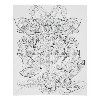 Dragon fly drawing adult colouring poster