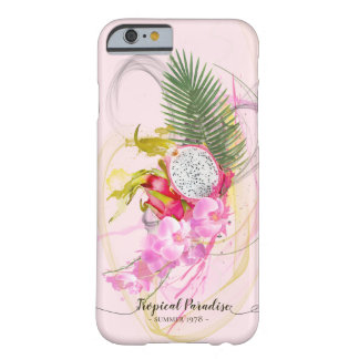 Dragon Fruit and Pink Orchid Tropical Calligraphy Barely There iPhone 6 Case