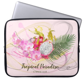 Dragon Fruit and Pink Orchid Tropical Calligraphy Laptop Sleeve