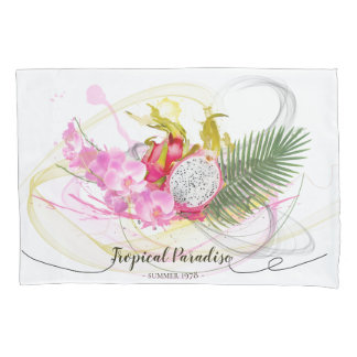 Dragon Fruit and Pink Orchid Tropical Calligraphy Pillowcase
