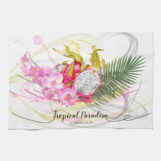 Dragon Fruit and Pink Orchid Tropical Calligraphy Tea Towel