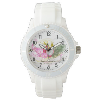 Dragon Fruit and Pink Orchid Tropical Calligraphy Watch
