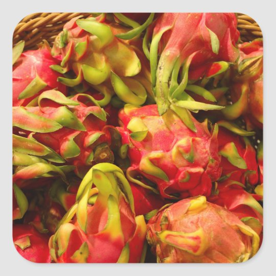 Dragon fruit in a basket square sticker