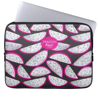 Dragon fruit pattern on black background laptop sleeve