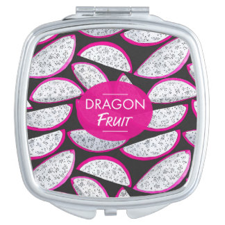 Dragon fruit pattern on black background makeup mirrors