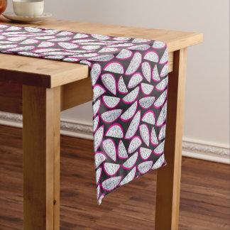 Dragon fruit pattern on black background short table runner