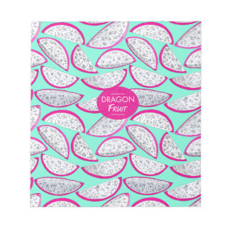 Dragon fruit pattern on cyan background notepad