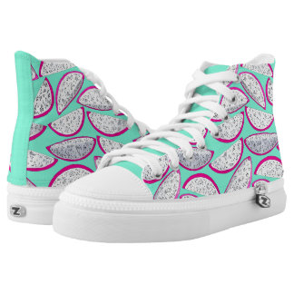 Dragon fruit pattern on teal background high tops