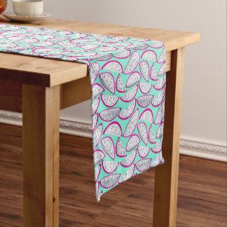 Dragon fruit pattern on teal background short table runner