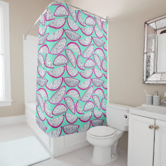 Dragon fruit pattern on teal background shower curtain