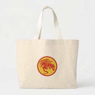 Dragon Gargoyle Crouching Circle Retro Large Tote Bag