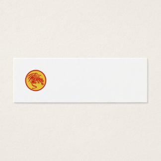 Dragon Gargoyle Crouching Circle Retro Mini Business Card