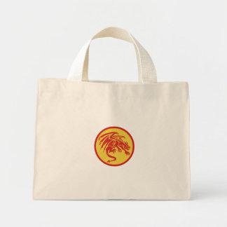 Dragon Gargoyle Crouching Circle Retro Mini Tote Bag