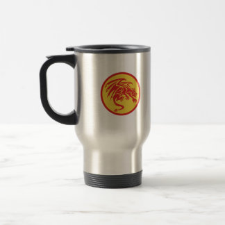 Dragon Gargoyle Crouching Circle Retro Travel Mug