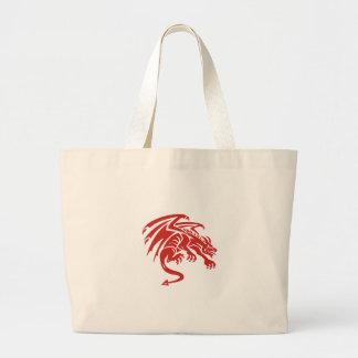 Dragon Gargoyle Crouching Silhouette Retro Large Tote Bag