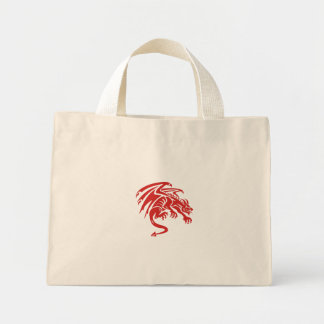 Dragon Gargoyle Crouching Silhouette Retro Mini Tote Bag