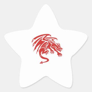Dragon Gargoyle Crouching Silhouette Retro Star Sticker