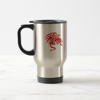 Dragon Gargoyle Crouching Silhouette Retro Travel Mug