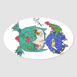 dragon girl edited oval sticker