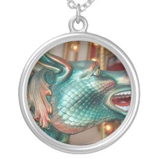 dragon head carousel ride fair image round pendant necklace
