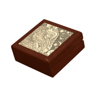 Dragon Head Fantasy TILE KEEPSAKE BOX *Gold Oak