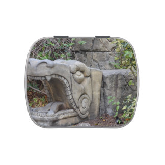 dragon head sculpture with plants candy tins