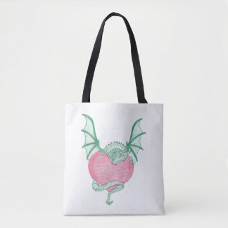 Dragon holding on to my heart tote bag