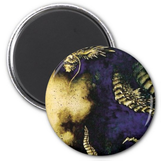 Dragon in a Rain Cloud 6 Cm Round Magnet