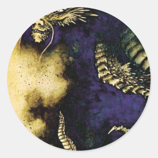 Dragon in a Rain Cloud Classic Round Sticker