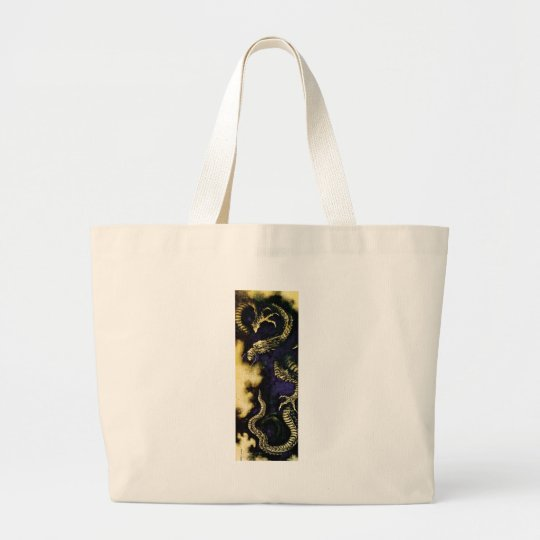 Dragon in a Rain Cloud Large Tote Bag