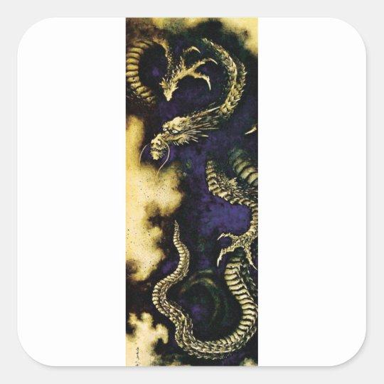 Dragon in a Rain Cloud Square Sticker