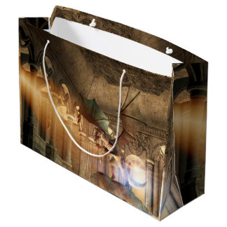 Dragon in attack position in a castle large gift bag