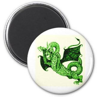 DRAGON IN BATTLE MEDIEVAL PRINT IN GREEN 6 CM ROUND MAGNET