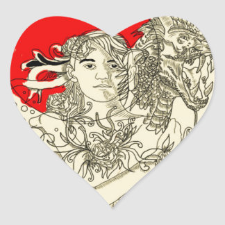dragon lady heart sticker