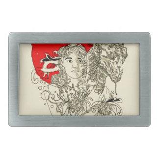 dragon lady rectangular belt buckle