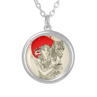 dragon lady round pendant necklace
