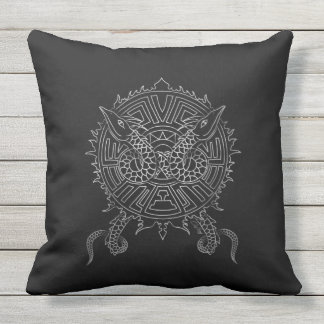 Dragon Mandala Tattoo Design Outdoor Cushion