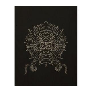 Dragon Mandala Tattoo Design Wood Print