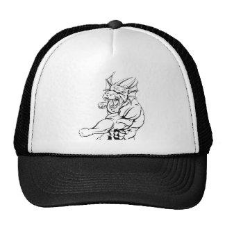 Dragon mascot punching trucker hats