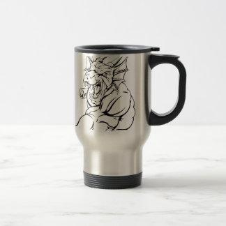 Dragon mascot punching coffee mug
