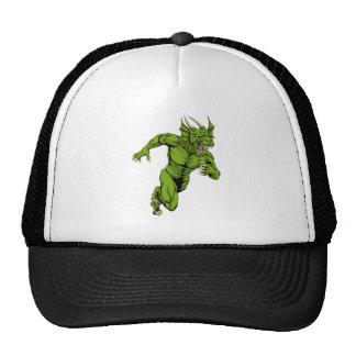 Dragon mascot sprinting trucker hats
