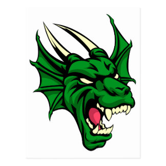 Dragon Mean Animal Mascot Postcard