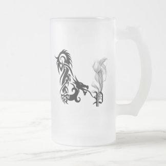 Dragon Monogram P Frosted Glass Beer Mug