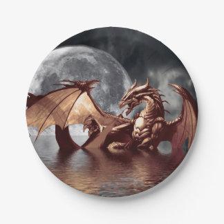 Dragon & Moon Fantasy Artwork 7 Inch Paper Plate