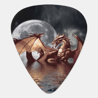 Dragon & Moon fantasy artwork Guitar Pick
